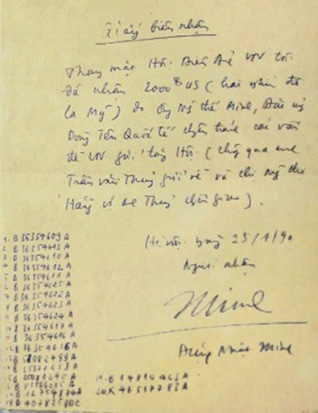 A letter from Trần Văn Thủy concerning $2,000.