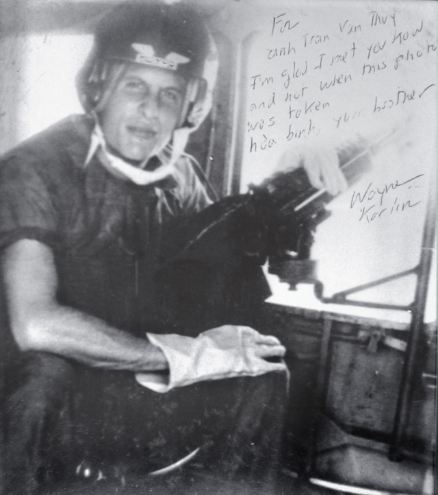 Wayne Karlin on a US Army helicopter.